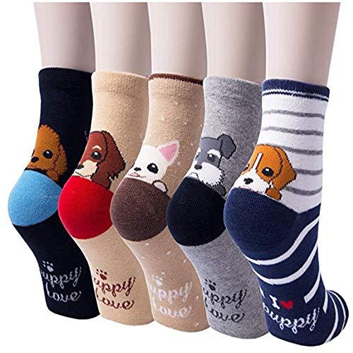 KingYue 5 pares de calcetines lindo divertido, novedad algodón ocasional Crew Animal Calcetines para Mujeres Dogs Pattern - 5 Pairs One Size