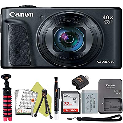 Canon PowerShot SX740 HS Digital Camera (Black) with Sandisk 32GB Card + ZeeTech Accessory Kit (Basic Bundle) by Canon (ZT)