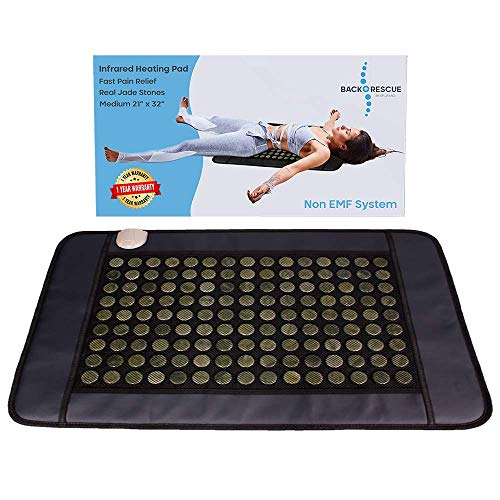 Back Rescue Far Infrared Heating Pads, Pain Relief That Works or Money Back! Made with 135 Real Jade Stones (not cloth with thin wire), medium 21'x 32', no EMF, FDA Cleared, 1 Year Warranty, Carry bag