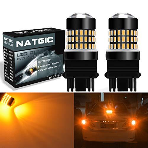 NATGIC 3157 3156 3057 4157 Bombillas LED Ámbar 1800LM 3014SMD Chipsets 78-EX con proyector de lentes para luces de señal de giro y freno de parada, 12-24 V (2-Pack)