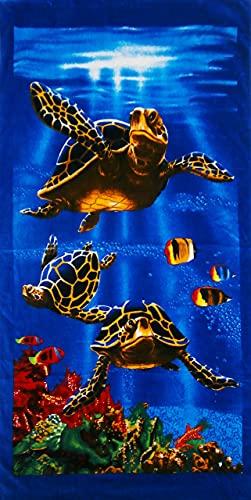 Ropa Store - Toalla de playa multicolor estampada 100% algodón 86 x 158 cm | Toalla de playa piscina unisex superabsorbente – Tortugas
