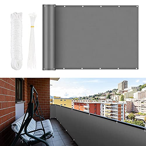 Proteccion Balcon, Pantalla de Privacidad 0,9 x 5 m Con Protección Contra El Viento Opaco y Protección UV, Con Ojales, Bridas y Cuerda de Nailon, Protección 100% de Balcon Privacidad, Gris oscuro