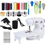 Mcree Mini máquina de coser portátil con mesa de expansión, mano y pie operar modelos, DIY Mending Machine hogar costura herramienta de mano para adultos para ropa de tela, blanco+púrpura