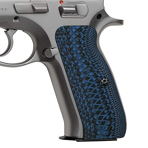 Cool Hand G10 Grips for CZ 75 Full Size, Snake Scale Texture, Brand, Blue/Black, H6-2-8