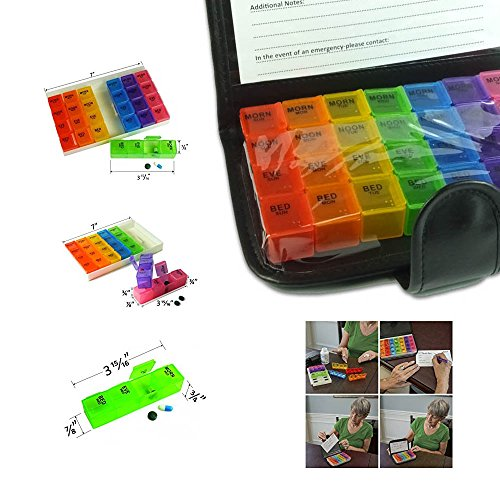 Deke Home Pill Organizer Weekly Container Wallet Case with Pill Cutter Included, 7 Day Box Compartments for 4 Times of a Day, Ideal for Medication, Vitamin, Supplement, Medicine, Perfect for Travel.