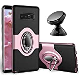 eSamcore Samsung Galaxy Note 8 Case Ring Holder Kickstand Cases + Dashboard Magnetic Phone Car Mount [Rose Gold]