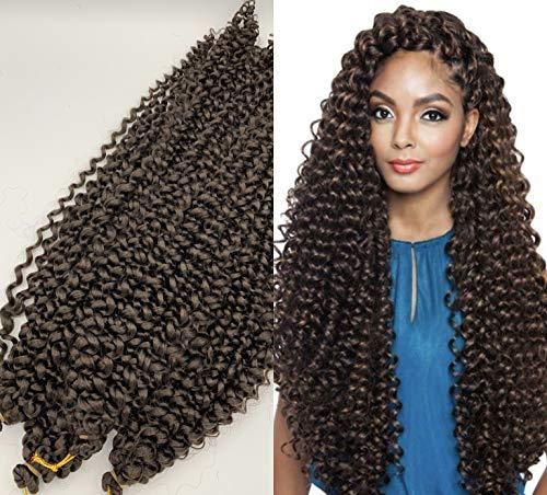 (22''/55cm/70cm lisce) 3 PEZZI DI EXTENSION ONDULATE per trecce crochet (per pezzo: 15 ciocche /100g), capelli dall'aspetto veri : Kanekalon Premium #1B