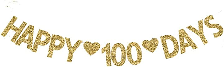 Happy 100 Days Banner, Baby's 100 Days Party Decor Wedding/Fall in Love100 Days Gold Gliter Paper Sign