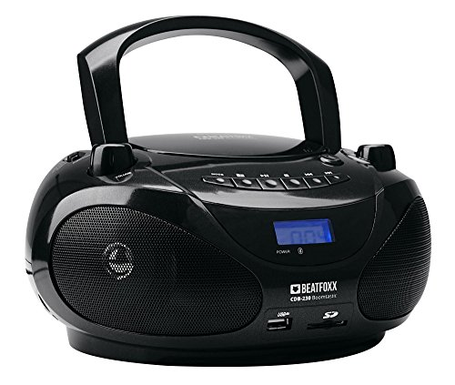 Beatfoxx Boomtastic tragbare Stereoanlage mit CD-Player und Bluetooth - UKW Radiorecorder mit USB/SD/MP3-Player - Batterie oder Netzbetrieb - Schwarz