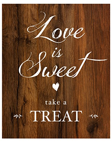 2 City Geese Love is Sweet Take a Treat Sign for Wedding Reception | Rustic Wood Look On Linen Textured Thick Cardstock Paper (1) 8x10 Sign | Wedding Reception Decoration