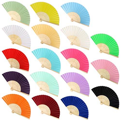 Funhoo 18pcs Seda Bambú Abanicos Plegable Mano Natural para Regalo de Boda de Iglesia Favores DIY Decoraciones en Verano Boda Fiesta (Multicolor)