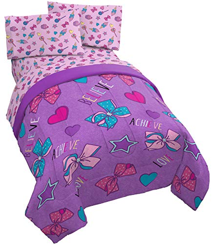 Jay Franco Nickelodeon JoJo Siwa Dream Believe 5 Piece Full Bed Set - Includes Comforter & Sheet Set - Super Soft Fade Resistant Polyester - (Official Nickelodeon Product)