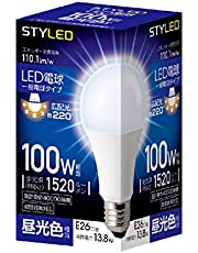 スタイルド LED電球 口金直径26mm 電球100W形相当 昼光色 13.8W 一般電球・広配光タイプ 密閉器具対応 HA15T26D1