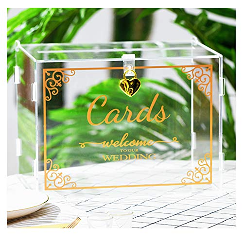 PUTOTE Gold Wedding Card Box with Lock(Acrylic 11×8×8 in),Foldable