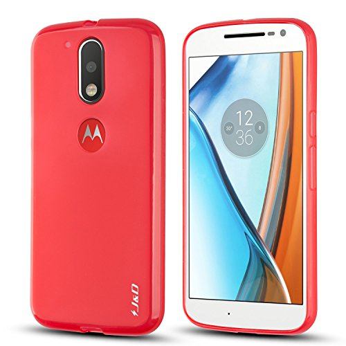 J&D Case Compatible for Moto G4 Plus/Moto G4 Case, [Drop Protection] [Slim Cushion] Shock Resistant Protective TPU Slim Case for Motorola Moto G4 Plus Bumper Case - [NOT for Moto G4 Play] - Red