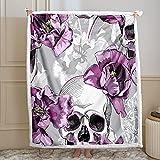 Bebbay Skull Blanket Sugar Skull Sherpa Fleece Blanket Purple Violet Tulips Flower Skulls Decor Gothic Blanket for Girls Boys Soft Warm Bed Couch Blanket (Purple, Throw(50'x60'))