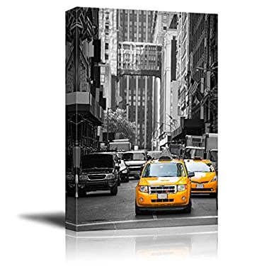 Wall26 - Black and White Photograph with Pop of Color on Yellow Taxis of New York - Canvas Art Home Decor - 32x48 inches