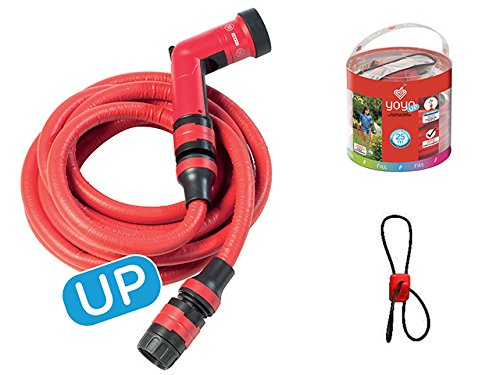 FITT YOYO UP Flexibler Gartenschlauch für professionelle Bewässerung mit Haken für Geländer und Zäune, Multifunktions-Wasserpistole, Rot, 15 m