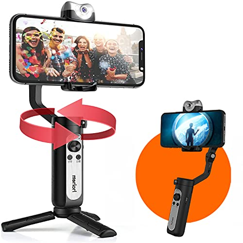 hohem iSteady V2 3-Axis AI Smartphone Gimbal Stabilizer w/AI Visual Tracking LED Video Light Auto Inception Dolly Zoom Foldable Gimbal for iPhone12 11 Pro Max Samsung S20 for YouTube TikTok Live Video
