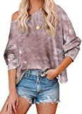 MBR FORCE Long Sleeve Pullover Sweatshirts for Women Tie Dye Pullover Tops Brown L