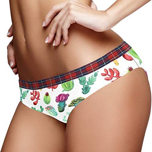 Bennigiry Aquarell-Unterhose, elastisch, Kaktus, Unterwäsche, weiche Baumwolle, Damen-Slip, Größe S Gr. Medium, multi