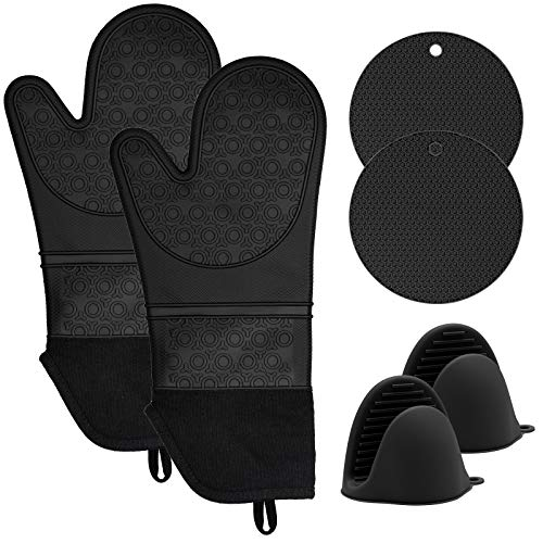 KOHSEN Silicone Oven Mitts and Pot Holders Set, 6 Piece Set with 2 Hot Pads-Heat Resistant to...