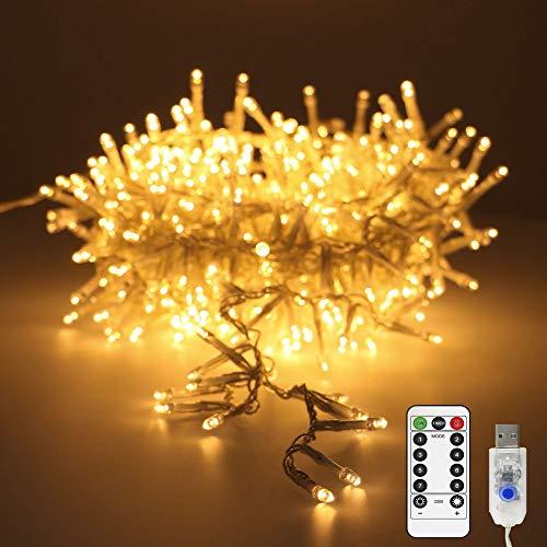 200er led Lichterkette 8 m warmweißes Vorhanglicht für innen und außen USB-Aufladung lichterketten vorhang Fernbedienung mit 8 Lichtmodi Wasserdichte IP44 für Weihnachtsbaum, Partys, Hochzeit Deko.