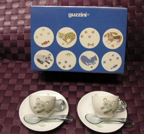 Guzzini Set 2 Espressotassen+Loeffeln Panda FRA Art & Cafè