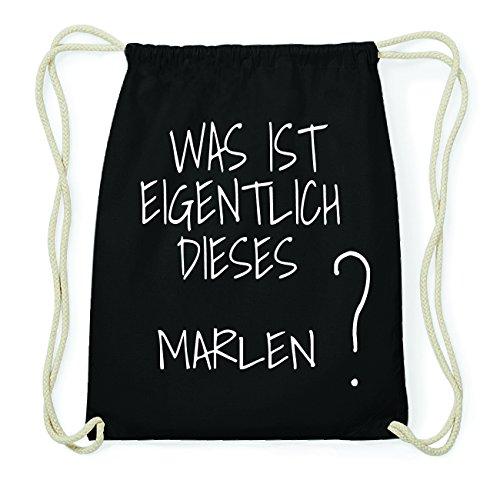 JOllify Marlen Hipster Turnbeutel Tasche Rucksack aus Baumwolle - Farbe: schwarz – Design: was ist eigentlich - Farbe: schwarz