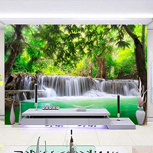 Window Stickers Forest River Waterfall Scenery 150X100cm Non-Woven Art Print 3D Wallpaper Mural Photo Kids Bedroom Kitchen Poster Decoration – Mural Consists of 3 Pieces