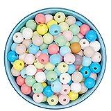Feelairy 600 piezas Cuentas de madera coloridas, bolas de madera 8 mm para enhebrar Cuentas Artesanales Redondas en colores pastel con orificio para Pulseras de DIYJoyería Artesanal