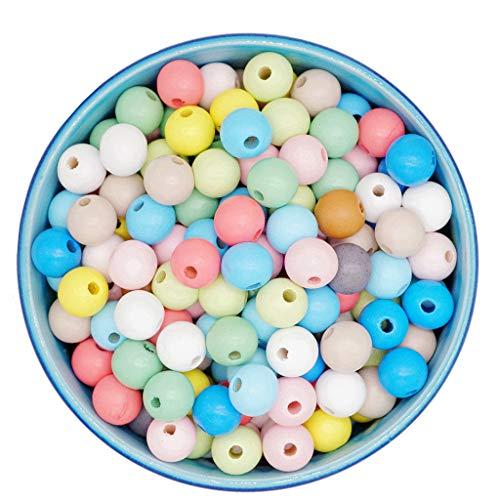 Feelairy 600 Pezzi Perline Colorate in Legno, 8 mm Sfere in Legno Pastelli tondi Perline Pastello per infilare Perline in Legno Colore Misto con Foro per bracciali Fai da Te Gioielli Artigianali