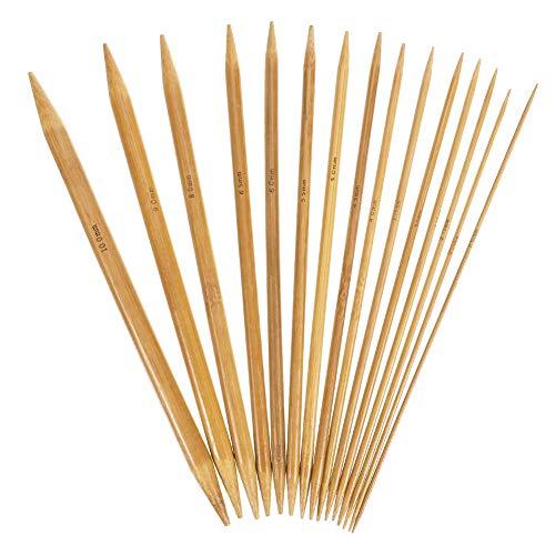 QINREN 75 Stück Stricknadeln Knitting Needles Stricknadeln aus Holz für Pullover, Socken, Handschuhe, Hüte und Schals (2 mm bis 10 mm),20cm