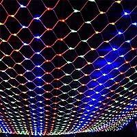 ロマンチック クリスマスライト、1.5x1.5m 3x2m 6x4m LEDが点灯し、ホームガーデンの結婚式に適しのためのネットメッシュストリングライト テラス (Color : Multicolor, Size : 6M x 4M)