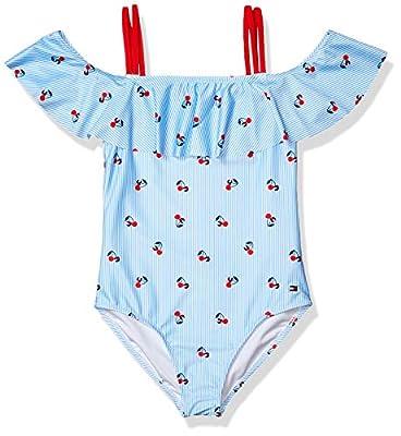 Tommy Hilfiger Kids Girls One-Piece Swimsuit, Light Azure Blue, L12/14