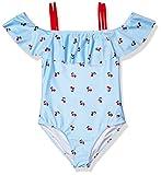 Tommy Hilfiger Kids Girls One-Piece Swimsuit, Cherry Ithaca Light Azure Blue, 6