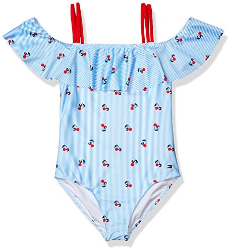 Tommy Hilfiger Kids Girls One-Piece Swimsuit, Light Azure Blue, M8/10