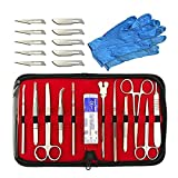 Kit de disección - 22 piezas para experimentos de laboratorio de anatomía y biología con hojas de bisturí, dos pares de guantes grandes y estuche organizador de almacenamiento para herramientas de l