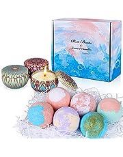 Aottom 6 Piezas Bombas de Baño y 3 Velas Aromaticas Perfumadas Set de Regalo de Bomba de Baño Bath Ball Natural Spa para el cuidado y la relajación, Regalos para Mujeres, Mamá, Novia