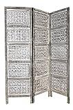 Orientalischer Paravent Raumteiler aus Holz Lakshmi 150 x 180cm hoch in Weiss   Indischer Trennwand als Raumtrenner oder Dekoration im Zimmer oder Sichtschutz im Garten, Terrasse oder Balkon