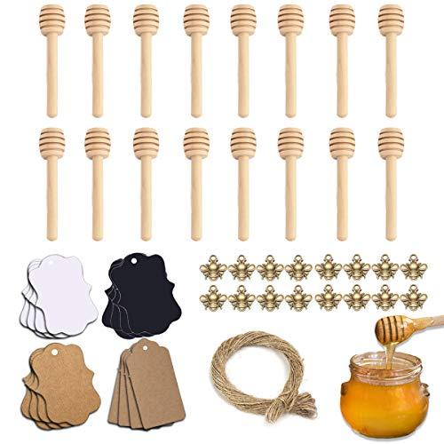 16 pcs Palitos de Madera Miel, Cucharas para la Miel, Cucharaditas Palo Miel Cuchara de Madera de 8 cm Mini Varilla Agitación, para Accesorios de Hacer Bricolaje Dispensador Miel de Tarro
