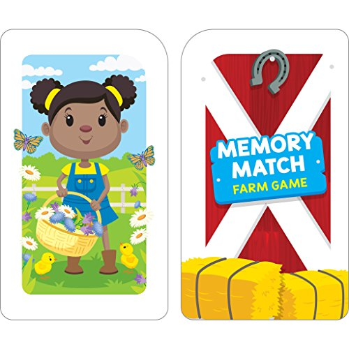 51OlDhripfL - School Zone - Memory Match Farm Card Game - Ages 3+, Preschool to Kindergarten, Animals, Early Reading, Counting, Matching, Vocabulary, and More (School Zone Game Card Series)