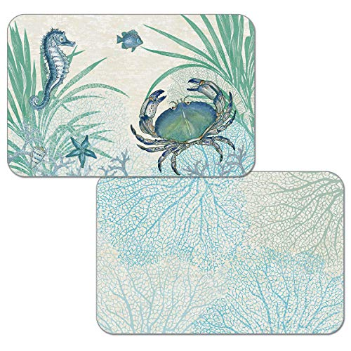 CounterArt Oceana Crab Reversible Easy Care Placemat Set of 4 Made in The USA