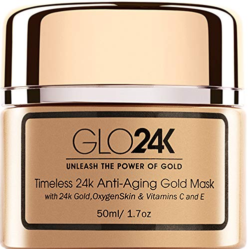 GLO24K Timeless 24k Anti-Aging Gold Mask with 24k Gold,OxygenSkin & Vitamins C and E