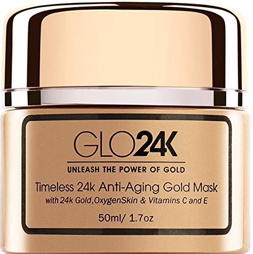 GLO24K Máscara de oro antienvejecimiento Timeless 24k con oro 24k, piel de oxígeno y vitaminas C y E