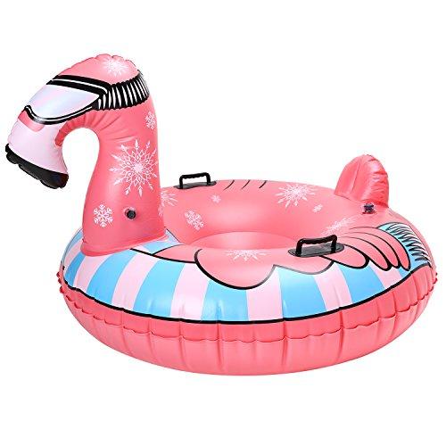 Rhino Valley Wintersport Aufblasbare Schlitten Luftmatratze Schnee Großes Toboggans Rodel, Wasserdicht Einhorn Flamingo Weihnachts Geburtstagsgeschenk für Kinder Erwachsene