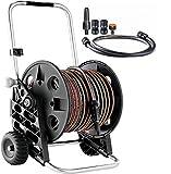 Wheels N Bits Professional Garden Hose 30 Metre 90 feet plus 1 Metre cart to Tap Garden Hose Reel Cart includes 6pc 1/2' Attachments fittings Spray Nozzle