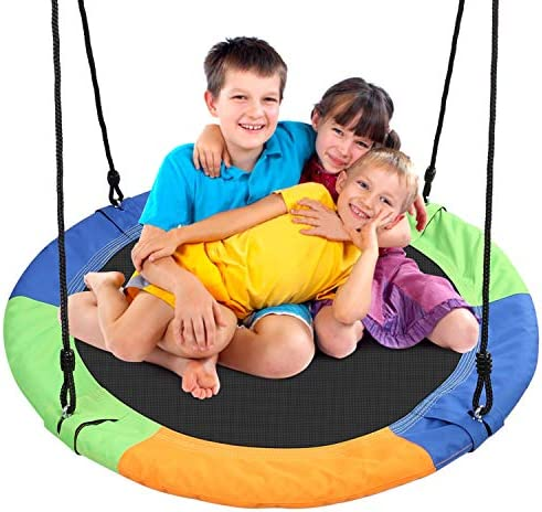 Odoland 40 inch Kid Round Color Tree Swing Chidren Platform Rope Swing Outdoor Flying Saucer product image