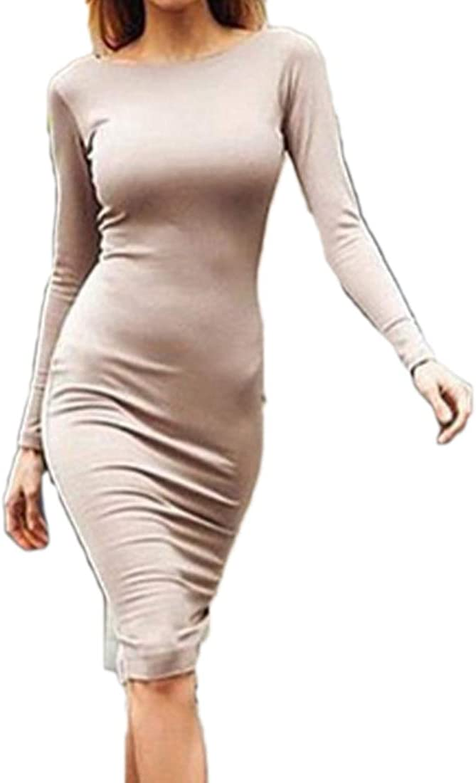Fulision Women's Halter Zip Cocktail Dress Sleeves Slim Party Dress Cocktail