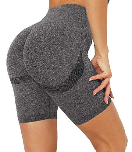 DUROFIT Women Scrunch Ruched Butt Yoga Shorts High Waist Sports Running Shorts for Gym Cycling Fitness Running Daily Grey S